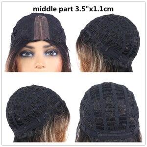 Image 5 - Ombre cinza marrom colorido perucas sintéticas do laço onda natural curto bob perucas para as mulheres de alta temperatura do laço peruca cabelo peças X TRESS