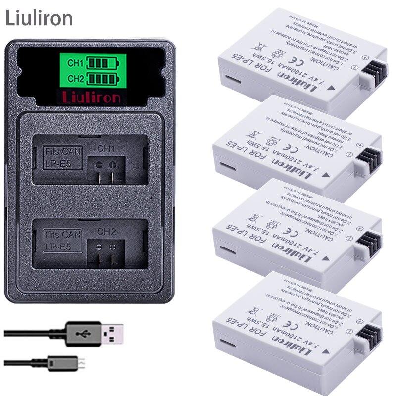 4 pièces LPE5 LP-E5 LP E5 batterie + TYPE-C double chargeur pour pour Canon 450D 500D 1000D Kiss X2 X3 F rebelle XSi Xli XS L15 appareil photo