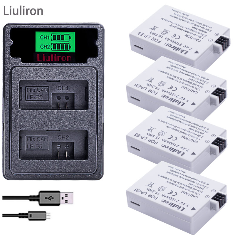 4pcs LPE5 LP-E5 LP E5 Battery +TYPE-C Dual Charger for For Canon 450D 500D 1000D Kiss X2 X3 F Rebel XSi Xli XS L15 camera image