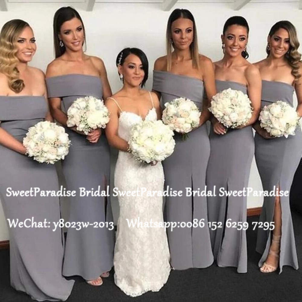 Grey Chiffon One Shoulder Bridesmaid Dresses Mermaid Long 2020 Sukienki Na Wesele Damskie Mermaid Wedding Dress Party Gown