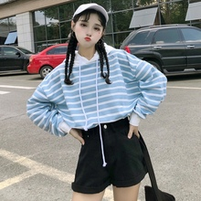 2019 Autumn And Winter Korean Fashion Round Neck Pullover Sweatshirt Thin Section Long-sleeved Striped Hooded Sweatshirt cut and sew striped knot sweatshirt