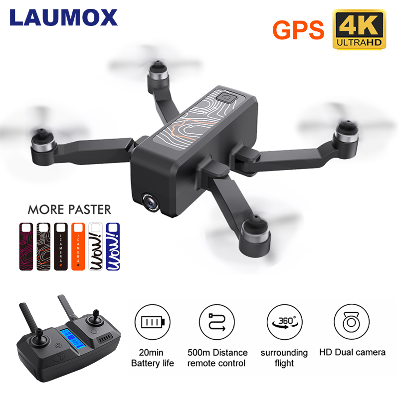 LAUMOX W13 Drone 4K HD Dual Camera Follow Me GPS Quadcopter FPV Professional High Hold Mode Foldable RC Drones SG907 SG906 pro