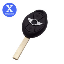 Xinyuexin lâmina sem corte remoto carro chave fob caso escudo apto para o velho bmw mini cooper s r50 r53 em branco chave do carro 3 botões