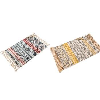 רטרו בוהמי יד ארוג כותנה שטיח ציצית המיטה שטיח גיאומטרי רצפת מחצלת סלון חדר שינה עיצוב הבית