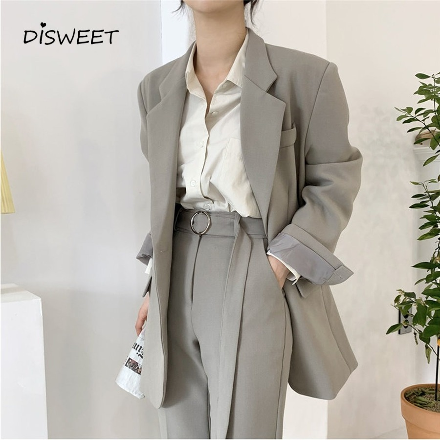 Fashion Single Suit Jacket Autumn Office Solid Color Button Suit Woman Korean Version Of Loose Chic Full Sleeve Jacket Ladies