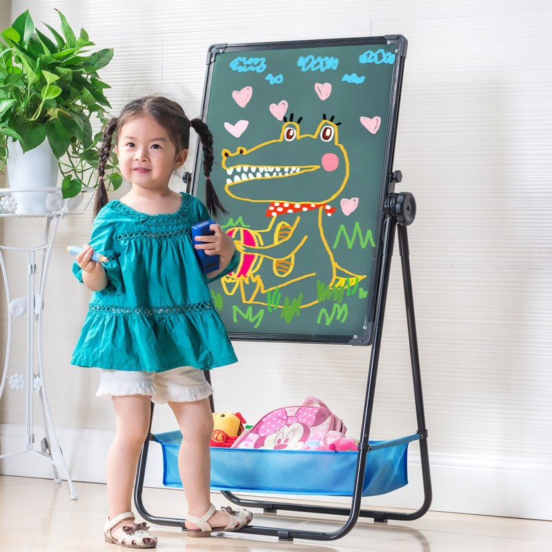 Children Drawing Board Easel Adjustable Double-Sided Magnetic Braced Small Blackboard Household Doing Homework Learning 3-Year-O