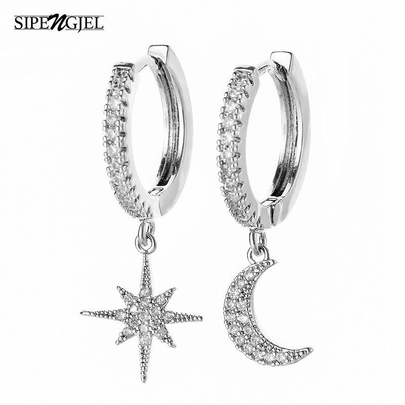 SIPENGJEL Hiphop Circle Hoop Earrings Geometric Star Moon dangle drop Earring For Women 2021 Trendy Jewelry Gift