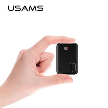USAMS Power Bank for xiaomi mi iPhone Mini Pover Bank 10000mAh LED Display Powerbank External Battery Poverbank Fast charging