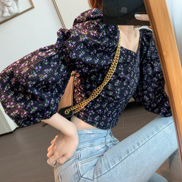 Women Tops Autumn New 2020 Retro Puff Sleeve Floral Printed Chiffon Shirt Cropped Top Shirts Square Collar Short Women Blouses 3