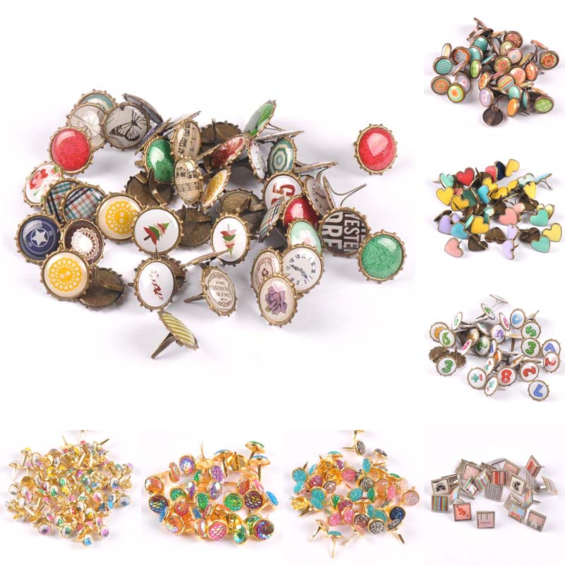 mix vintage Diy Brads Scrapbooking Embellishment Fastener Brad Metal Crafts Decoration CP2583