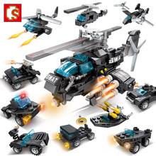 10 in 1 SWAT Team Transport Helicopter Military City Police figures Building Blocks Sets bricks Educational Toys for Children