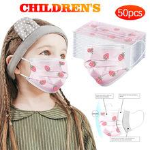 Máscara facial descartável da criança do teste padrão da morango da criança de 10/20/30/40/50/100pc denta industrial 3-camada pm 2.5 máscaras faciais da criança