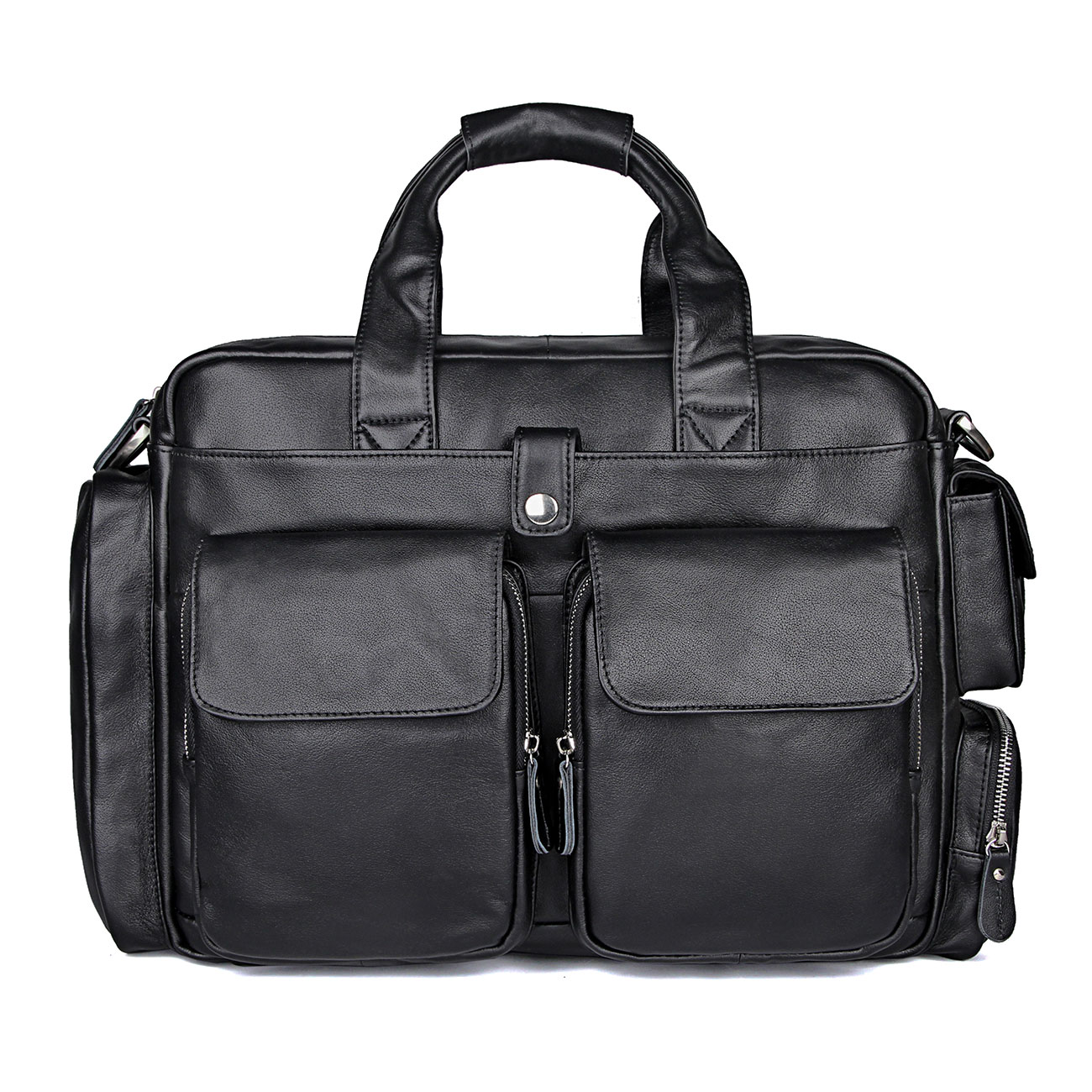 17″ Men's Briefcase Laptop Bag Black Genuine Leather Male Travel Business Fashion Hand Casual Tote Shoulder Bags Cow Leather