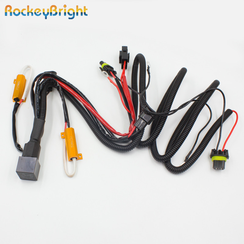 Rockeybright 1* HID Conversion Kit Relay Harness H1 H3 H7 H8 H11 9005 9006 HB2 HB3 HB4 Car Warning Canceller Decoder Resistor