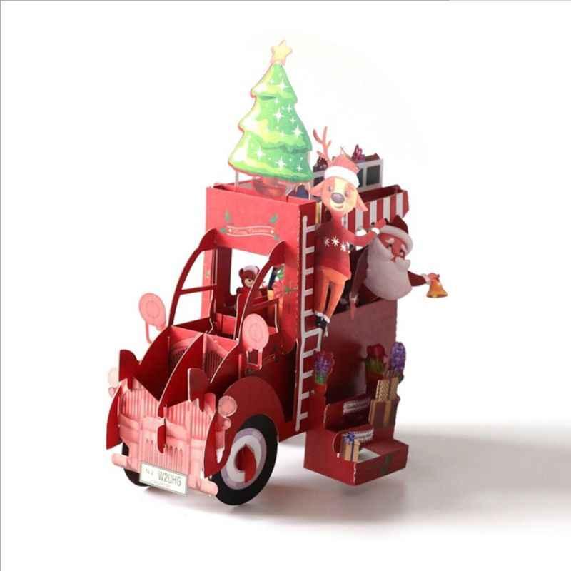 Tarjetas de Felicitación 3D para coche de Navidad, tarjetas de felicitación para aniversario, boda, cumpleaños, vacaciones, postales, invitaciones con sobre, regalos para padres de niños