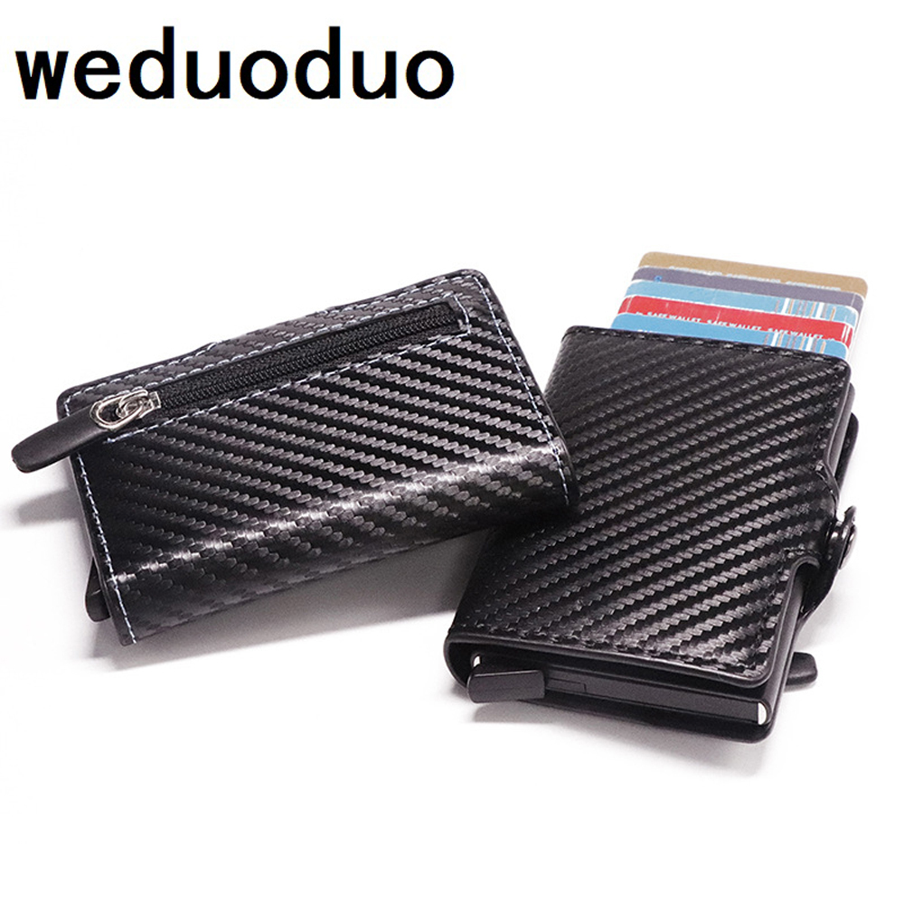 2020 Business Card Holder RFID Blocking Wallet Aluminium Box PU Leather Automatic Metal Wallet Credit Card For Travel