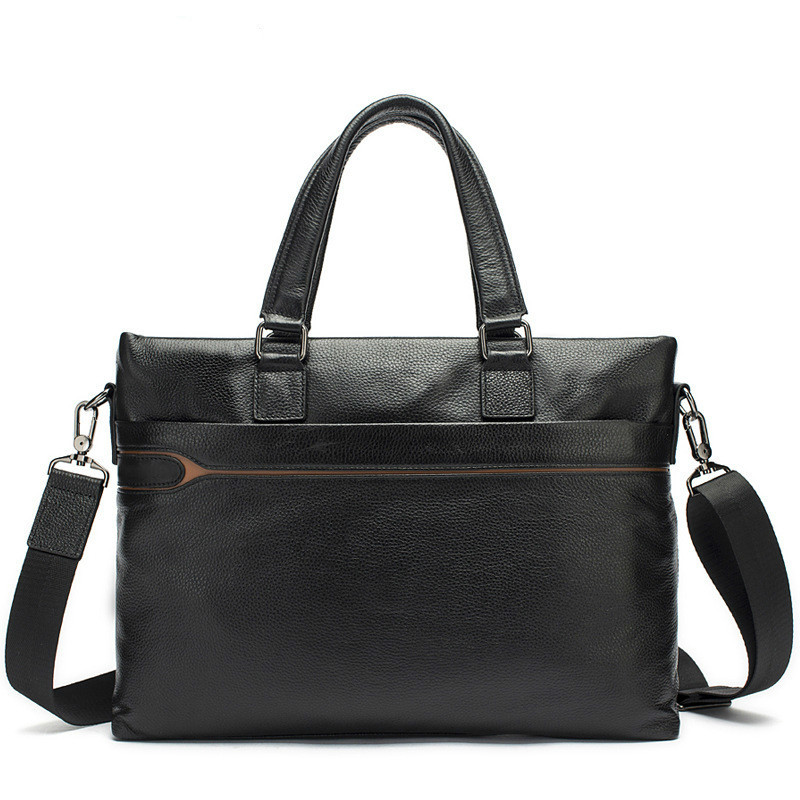 Man Portable Briefcase Trend Business Affairs Single Shoulder Computer Package Genuine Messenger Office Bags Men Leather Male