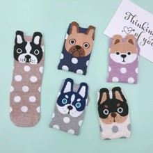 5 pairs lot pack women socks new arrival Cartoon animal cute happy funny lovely little dog cotton socks fashion Explosion dot