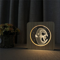 Squid Fish 3D LED Arylic Wooden Night Lamp Table Light Switch Control Carving Lamp for Friends Birthday Gift Dropshipping