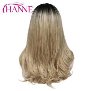 Image 3 - Hanne brown/loira ombre peruca longa ondulado resistente ao calor fibra peruca de cabelo sintético perucas da parte dianteira do laço para a mulher preta/branca
