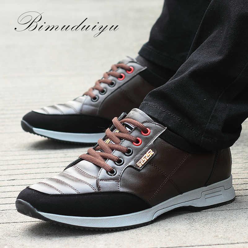 BIMUDUIYU marka hakiki deri erkek rahat ayakkabılar rahat Lace up nefes moda Sneakers düz öğrenci ayakkabı