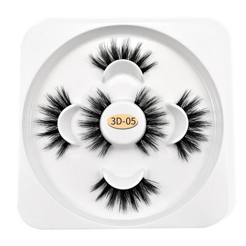 3D Fake Eyelashes 3 Pairs Mink Hair Soft False Eyelashes Thick Lashes Handmade Full Strip Lashes Soft Eyelash Easy To Remove