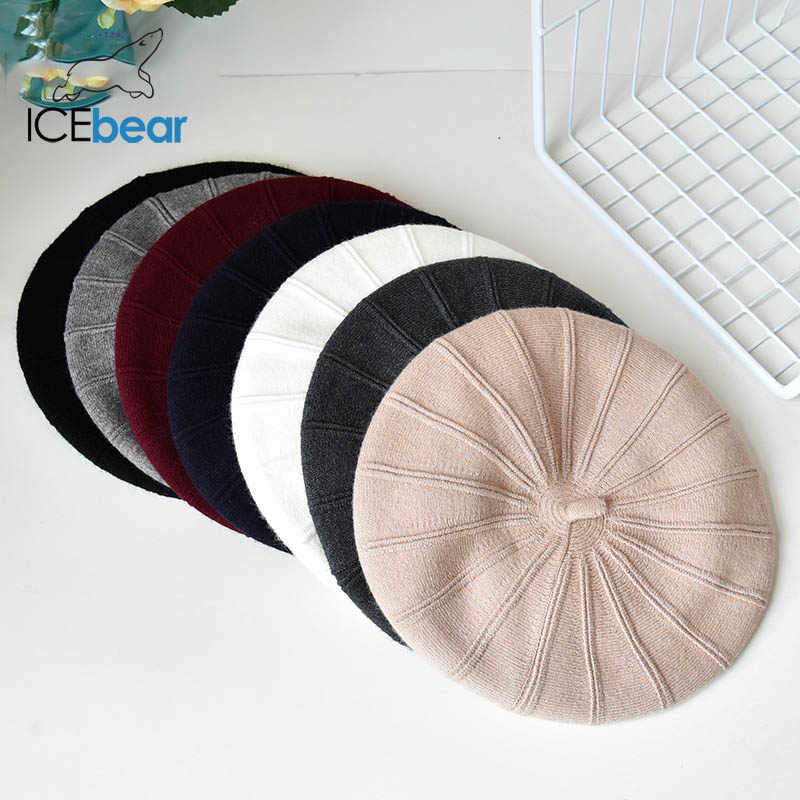 ICEbear الشتاء القبعات للنساء الخريف محبوك الصوف رسام قبعات موضة جديدة بلون لسيدة E-MX18133