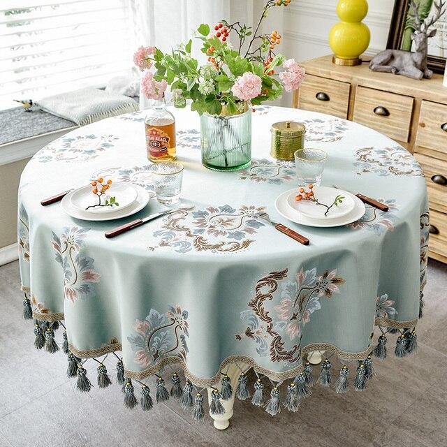 النمط الأوروبي قماش الجاكار الفاخر مفرش المائدة مع شرابة لحفل زفاف عيد ميلاد غطاء الطاولة المستديرة مكتب القماش للديكور المنزل