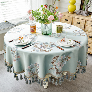 Image 1 - European style Luxury jacquard Tablecloth With Tassel for Wedding Birthday Party Round Table Cover Desk Cloth for home decor
