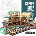 Compatible lepining idée ville rue vue avec lumière LED décontracté café maison blocs de construction briques modèle classique enfants jouets
