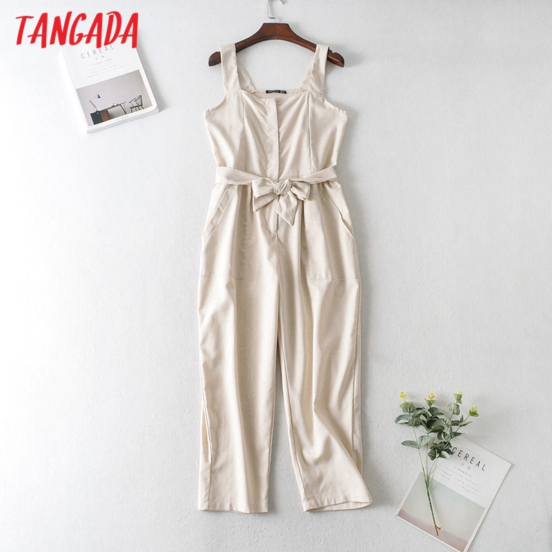 Tangada Women Summer Solid Cotton Linen Long Jumpsuit Strap Sleeveless Female Casual Jumpsuit JA127