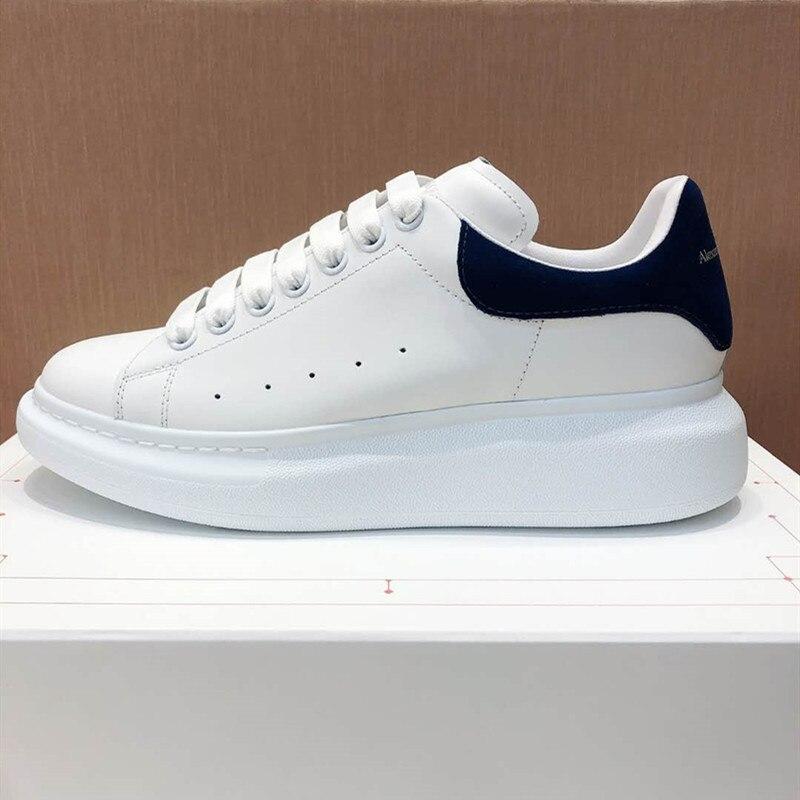 Zapatos de dise?ador de lujo para parejas, zapatillas informales con plataforma aumentada de fondo grueso, color blanco