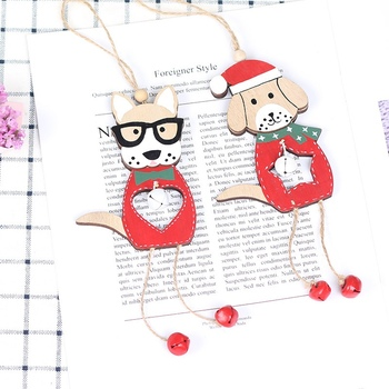 Cute Dog Design Wooden Christmas Hanging Drop Ornaments With Bell Pendants Xmas Tree Holiday Home Party Decor Supplies 2020 New image