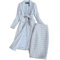 2019 high quality winter women's suits skirt set Fashion Plaid Ladies Long Jacket Coat Elegant slim skirt two piece suit