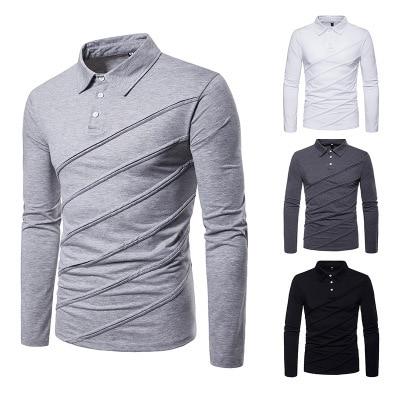 Men's polo shirt autumn and winter new fashion european size men's casual polo shirt stitching men's undershirt P045 4