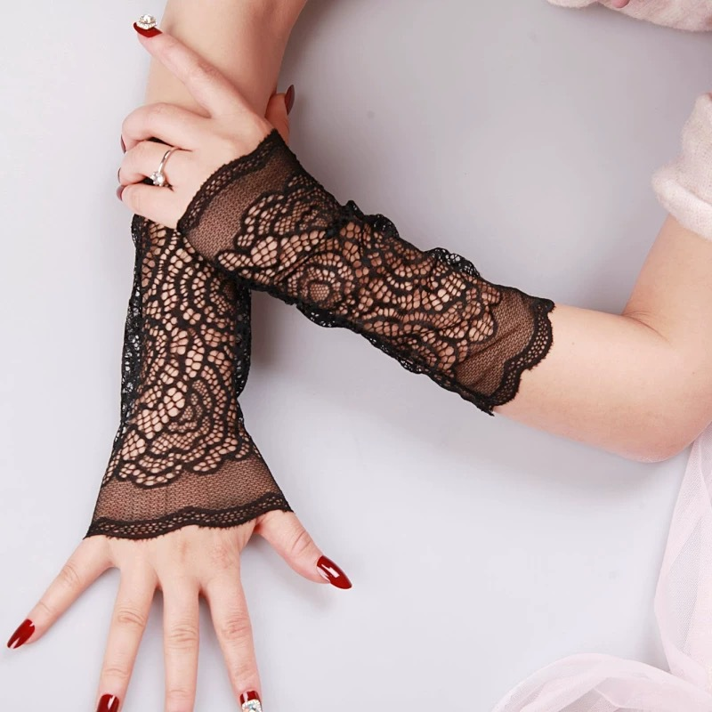Summer Ladies Sunscreen Arm Sleeves Goddess Lace Elbow Sleeves Sunscreen Cover Scar Decoration Hand Sleeves Long Fake Sleeves