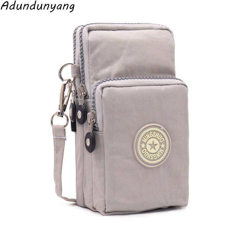 Women's Nylon Mobile Phone Bag Fashion Female Small Messenger Bags Women Crossbody Shoulder Bags Lady Clutches