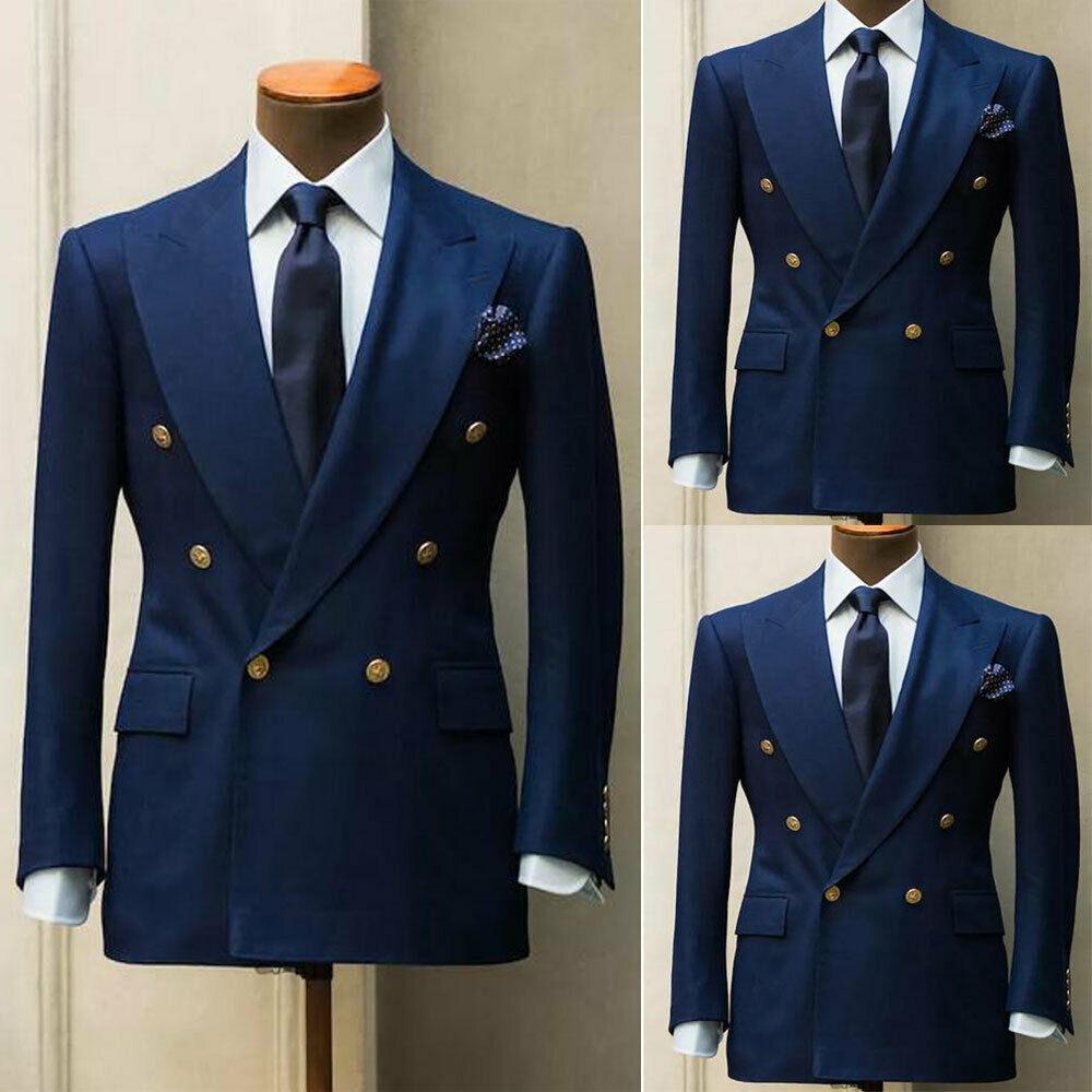 New classic blue wedding suits for men suit slim fit 2-piece blazer formal business dance bridegroom wedding tuxedo jacket pants