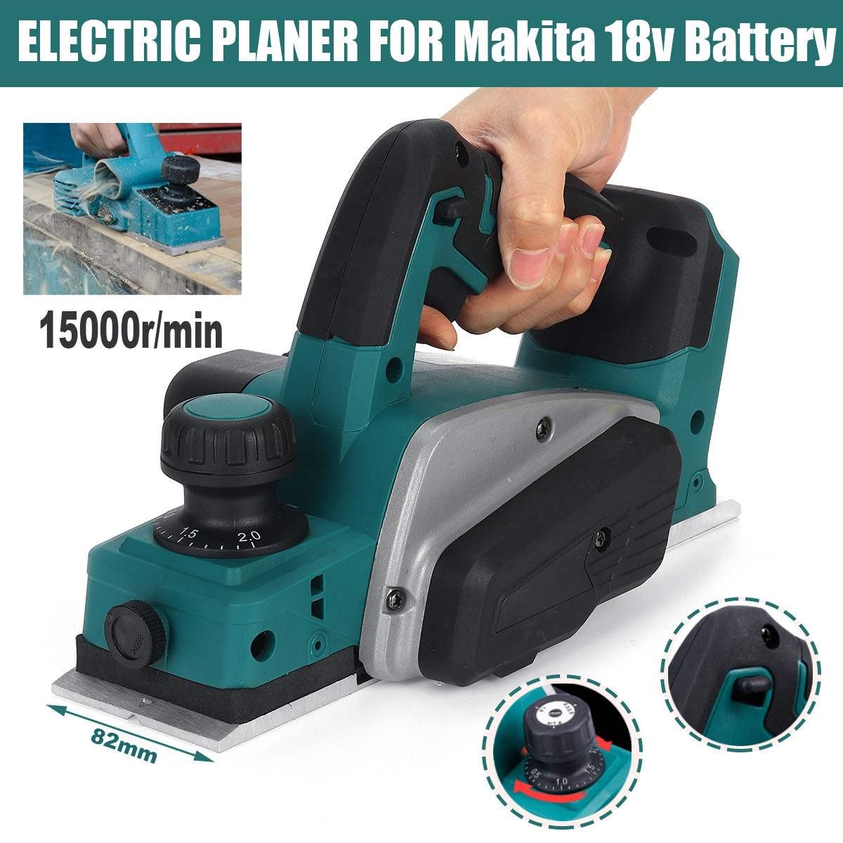 18V 15000rpm Rechargeable Electric Planer Cordless Handheld for Makita 18V Battery Woodworking Cutting Power Tool with Wrench