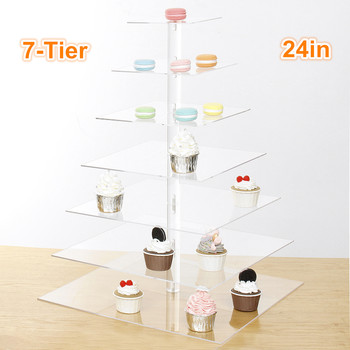 7 Tier Acrylic Cake Stand Wedding Party Dessert Cupcake Display Holder Stand Plate Kitchen Cake Tools Baby Shower Decor Bakeware