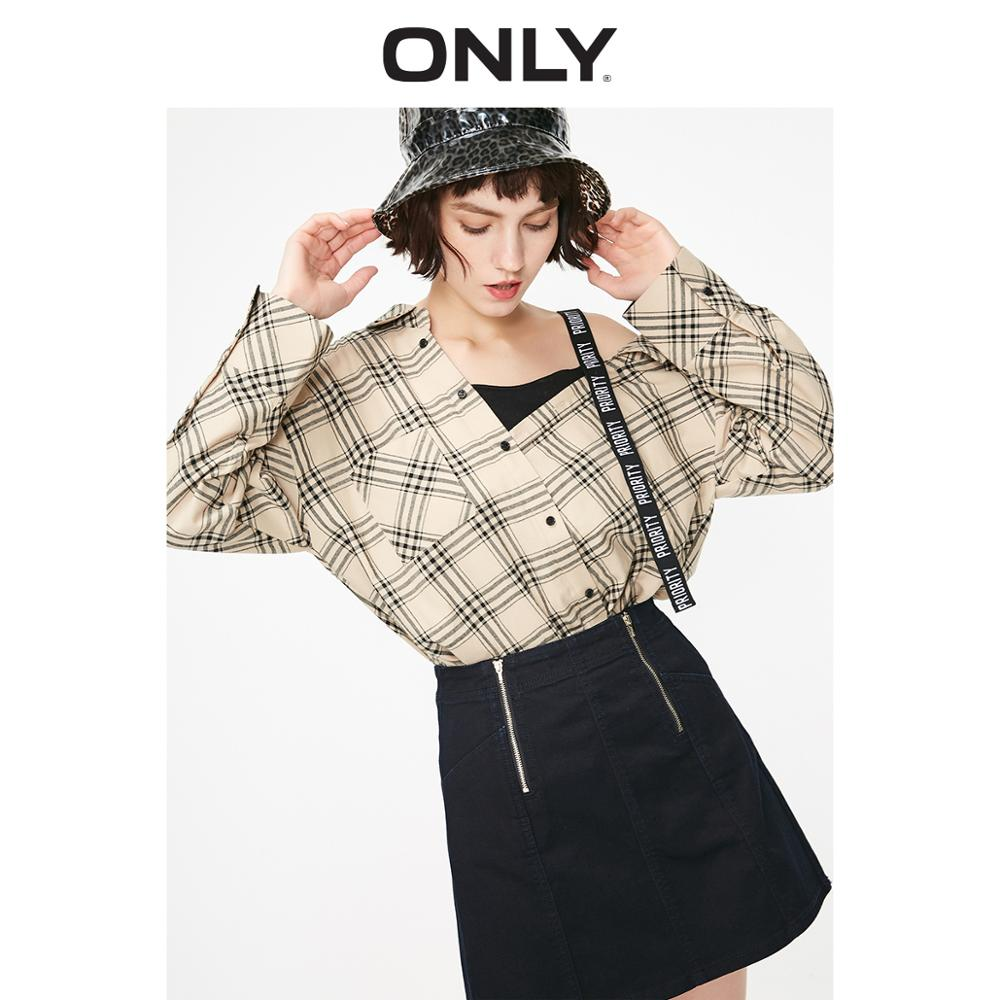 ONLY  Women's Loose Fit Checked Letter Print Shoulder Straps Off-the-shoulder Long-sleeved Shirt | 119251510