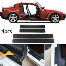 4pcs Universal Car Sticker Carbon Fiber Door Sill Scuff Plate Guards Door Sill Panel Protector Car Accessories Easy to Intall