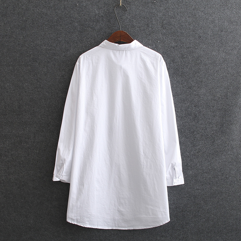 Chinese Style Floral Embroidery Shirts for Women Spring Summer Blouse Casual White Long Blouse Shirt Plus Size KKFY4751