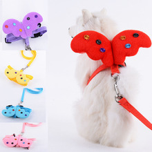Adjustable Pet Dog Angel Wing Leashes and Collars Set Puppy Leads for Cute Small Dogs Cats Designer Harness Accessories
