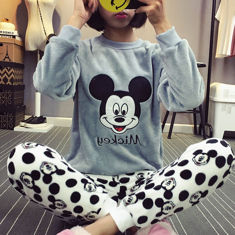Spring, Autumn And Winter Flannel Pajamas Women's Cartoon Mickey Students Cute Korean-style Set Coral Velvet Long Sleeve Tracksu
