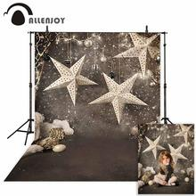 Allenjoy photographic backdrop indoor Snow stars decorate brown ball dark light child Christmas background photography photocall