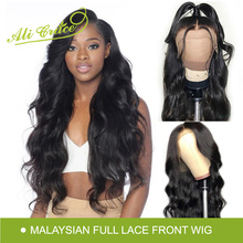Ali Grace Malaysia Full Lace Human Hair Wigs With Baby Hair 130 150 Density Pre Plucked Body Wave Full Lace Wig Remy Hair cheap Medium Brown All Colors Swiss Lace Malaysia Hair Average Size