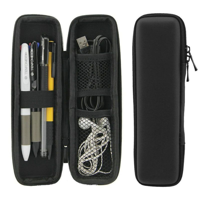 New Multi-Function Plastic Pen Stationery Office Student Pencil Case Headset Grid Storage Box Pencil Zipper Box School Supplies