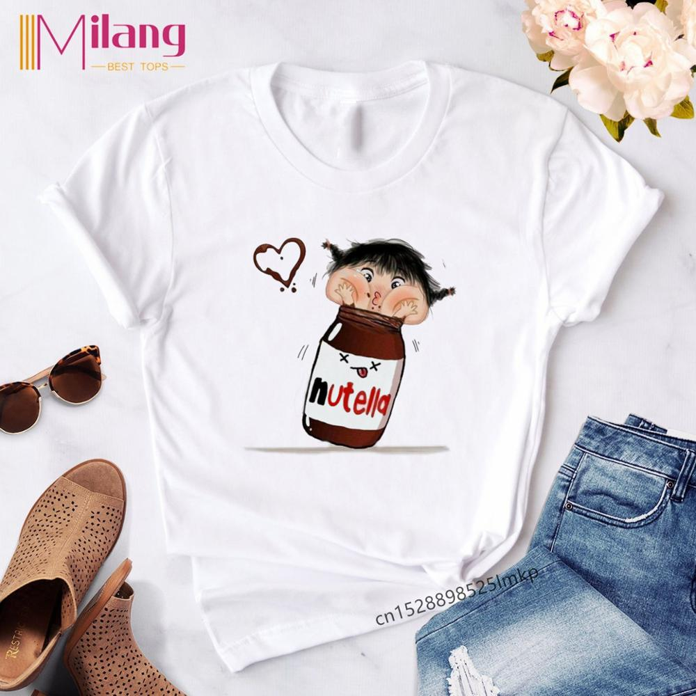 Women's Funny Kawaii Nutella Print T Shirt Women Cute Chocolate Sauce T-shirt Female Harajuku Tops Vogue Clothes Tees Shirt