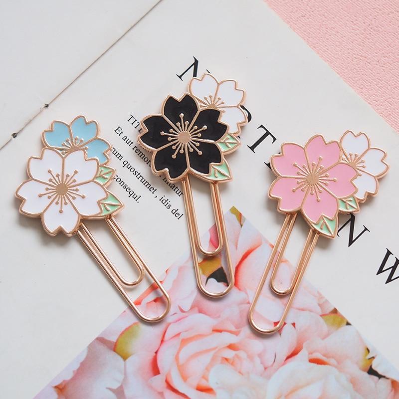 Harphia Metal Paper Clip Cherry Blossom Metal Bookmark Little Flower Sakura